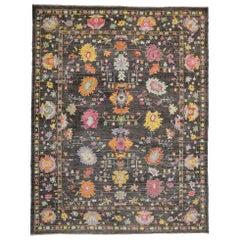 New Colorful Contemporary Turkish Oushak Rug with Art Moderne Style