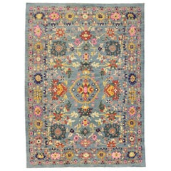 New Colorful Turkish Oushak Rug with Modern Contemporary Coastal Style