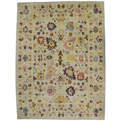 New Colorful Turkish Oushak Rug with Post-Modern Contemporary Style