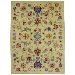 New Colorful Turkish Oushak Rug with Contemporary Modern French Provincial Style