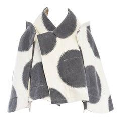 new COMME DES GARCONS AD2012 flatpacked 2D black white dot short wool coat S