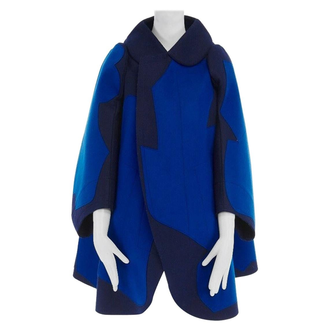 new COMME DES GARCONS AD2012 flatpacked 2D blue abstract shape wool felt coat XS