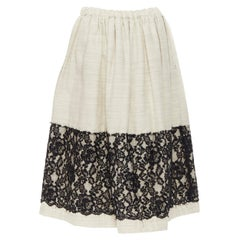 """new COMME DES GARCONS grey padded wool lace panel trimmed flared skirt M 27"""""""