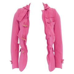 new COMME DES GARCONS HOMME PLUS 2011 pink slit distress hooded jacket XS