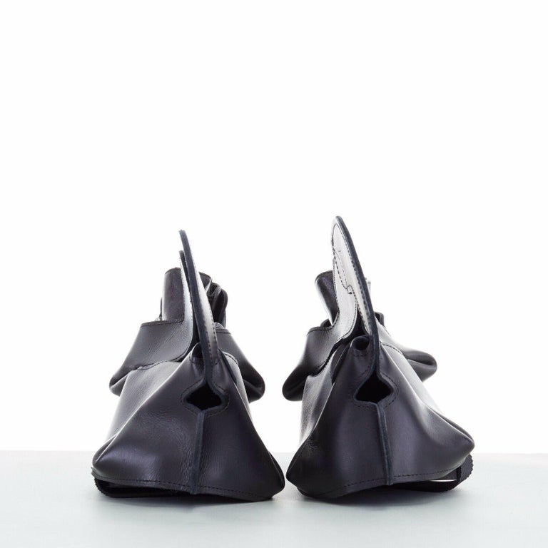 Black new COMME DES GARCONS SS14 rare black structured padded leather shoe cover