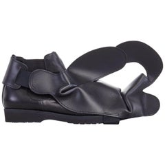 new COMME DES GARCONS SS14 rare black structured padded leather shoe cover
