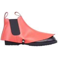 new COMME DES GARCONS SS14 rare red chelsea boot leather shoe cover acccessory