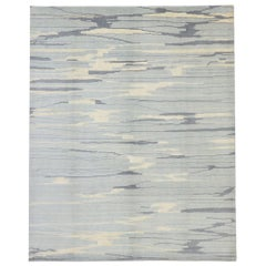 New Contemporary Abstract Area Rug with Coastal Colors and Transitional Style
