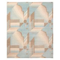 New Contemporary Aqua Geometric Wool Rug Geometric Floral