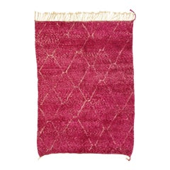 New Contemporary Berber Magenta Moroccan Rug with Abstract Expressionist Style