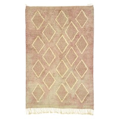 New Contemporary Berber Moroccan Rug with Diamond Pattern and High and Low Pile
