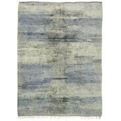 New Contemporary Berber Moroccan Rug with Abstract Linear Design and Plush Pile