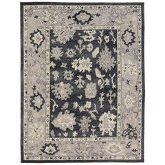 New Contemporary Black Turkish Oushak Rug with Modern Style
