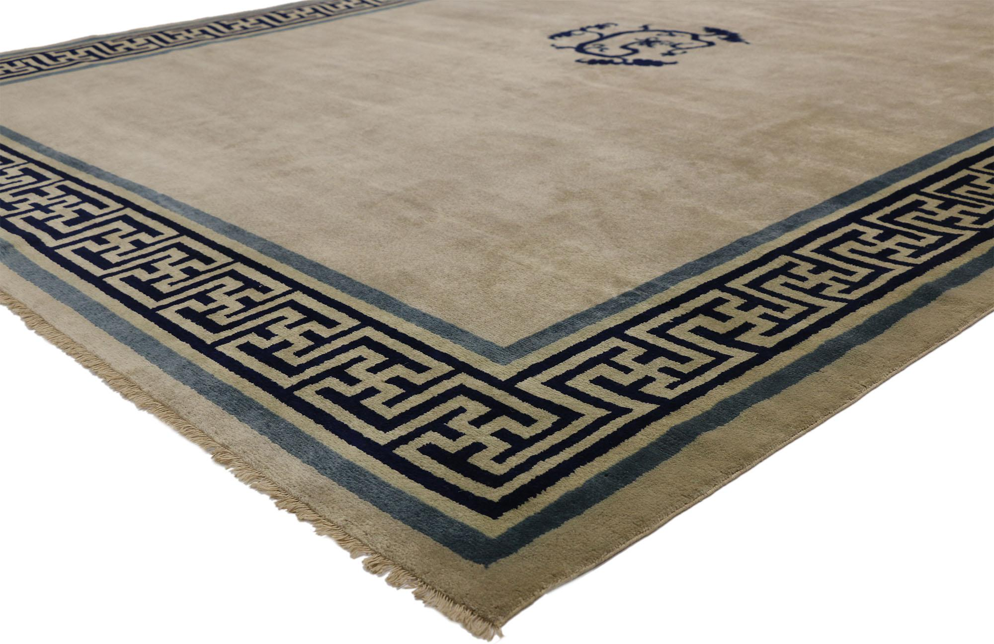 Picture of: New Contemporary Chinese Area Rug With Modern Qing Style And Greek Key Border At 1stdibs