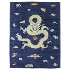 New Contemporary Chinese Art Deco Dragon Rug