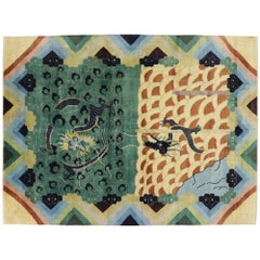 New Contemporary Chinese Art Deco Style Pictorial Dragon Rug