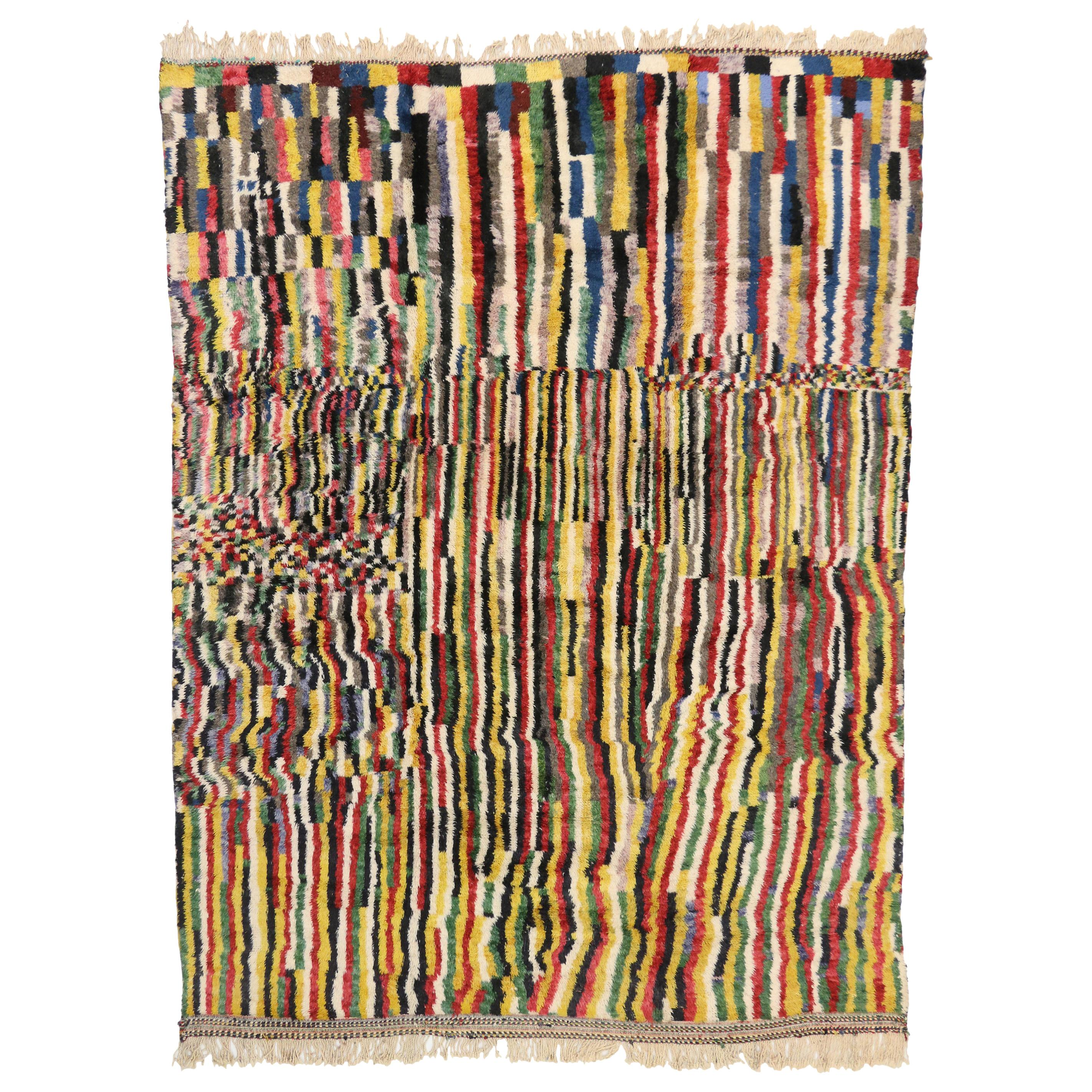 Contemporary Colorful Berber Moroccan Rug Inspired by Gerhard Richter