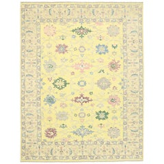 New Contemporary Colorful Yellow Oushak Rug with Modern Pastel Style