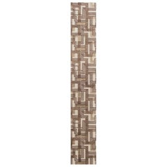Contemporary Geometric Beige and Brown Hand Knotted Wool Runner