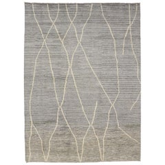 New Contemporary Gray Moroccan Rug with Modern Swedish Mysigt Style