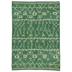 New Contemporary Green Moroccan Rug with Postmodern Tribal Style