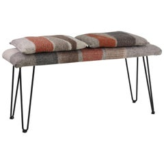 New Contemporary Hand-Felted Wool Bench with 2 Cushions