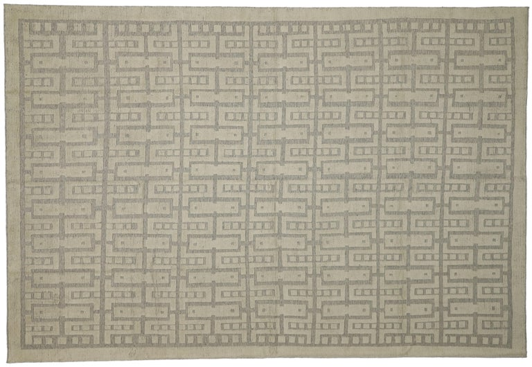 New Contemporary High-Low Geometric Area Rug with Modern Style For Sale 5