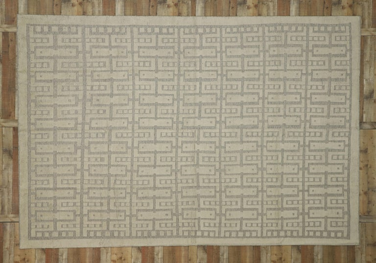 New Contemporary High-Low Geometric Area Rug with Modern Style For Sale 4
