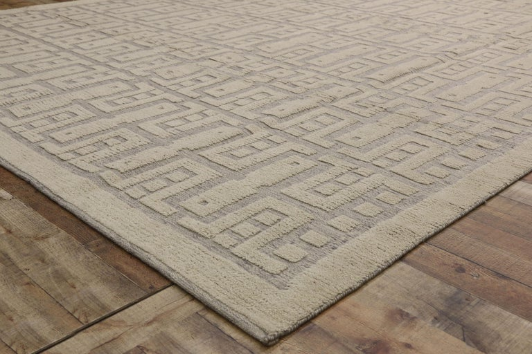 New Contemporary High-Low Geometric Area Rug with Modern Style For Sale 1