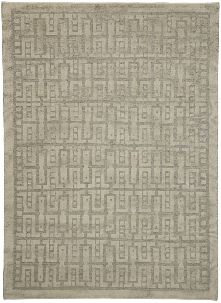 30510 new contemporary high-low Geometric area rug with modern style. Eclectic and sophisticated with a playful texture, this hand knotted wool contemporary high-low geometric area rug showcases modern style with a twist. The raised design appears