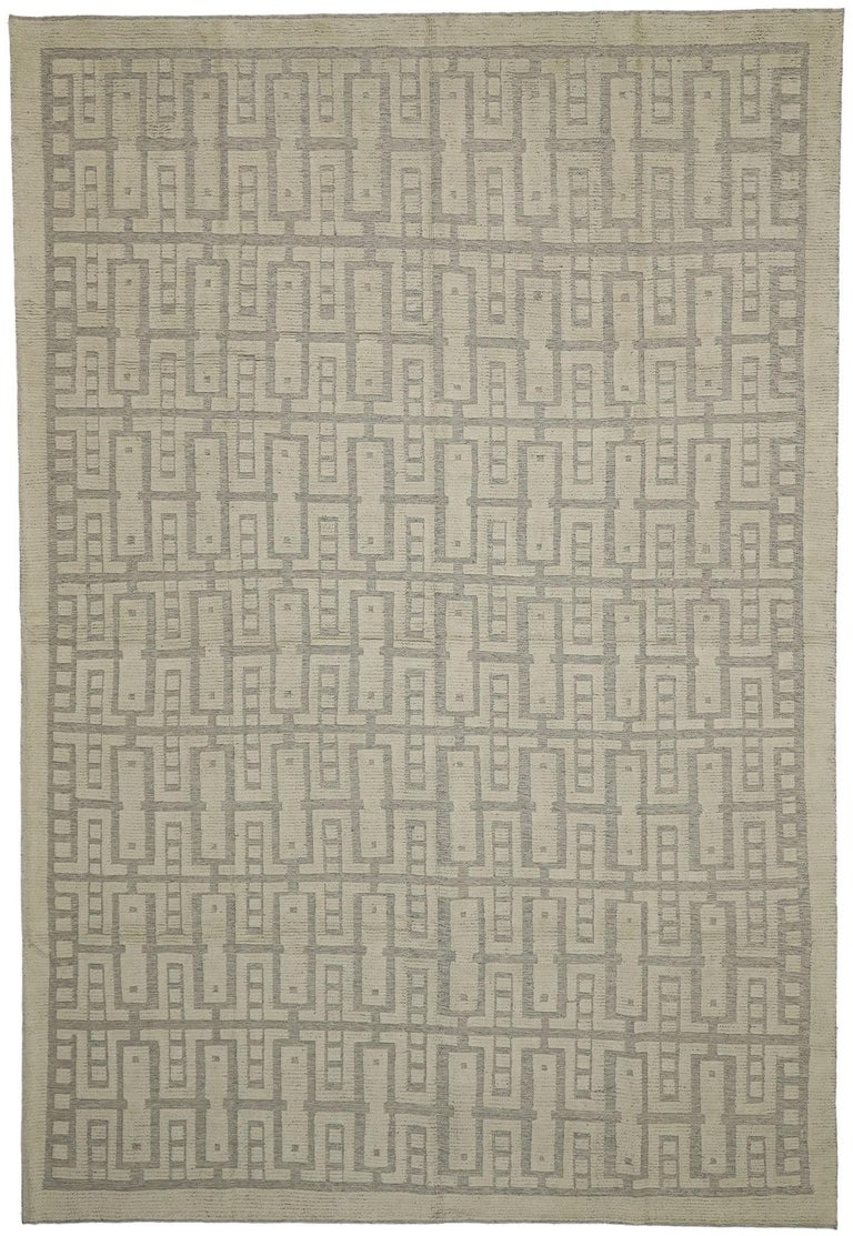 30509 new contemporary high-low Geometric Area rug with Modern style. Eclectic and sophisticated with a playful texture, this hand knotted wool contemporary high-low geometric area rug showcases modern style with a twist. The raised design appears