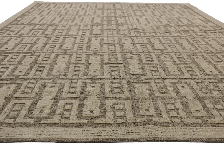 Hand-Knotted New Contemporary High-Low Geometric Area Rug with Modern Style For Sale