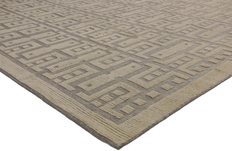 30513 new contemporary high-low Geometric Area rug. Eclectic and sophisticated with a playful texture, this hand knotted wool contemporary high-low geometric area rug showcases modern style with a twist. The raised design appears like a variation of