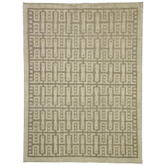 New Contemporary High-Low Geometric Rug with Transitional and Art Deco Style