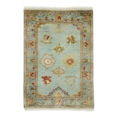 New Contemporary Indo-Oushak Accent Rug with Eclectic Coastal Boho Style