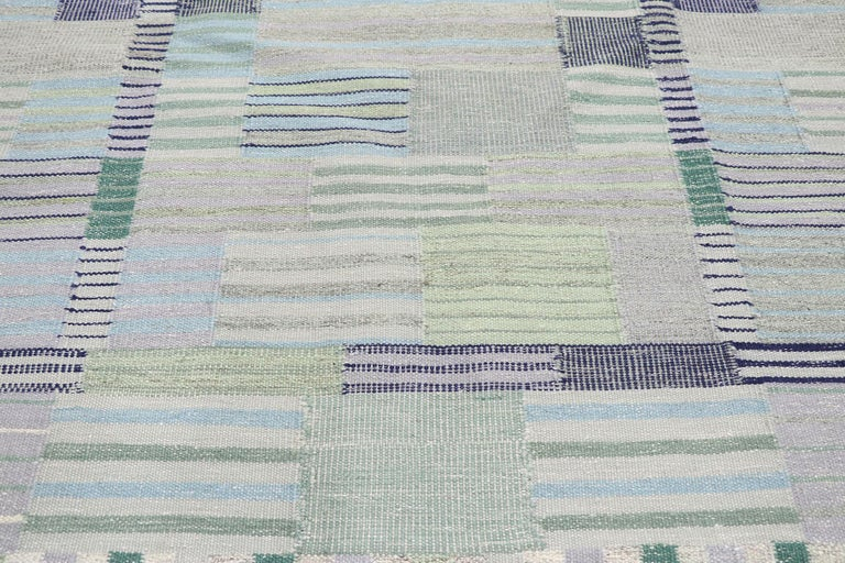 Hand-Woven New Contemporary Indo-Swedish Kilim Rug with Bohemian Scandinavian Modern Style For Sale