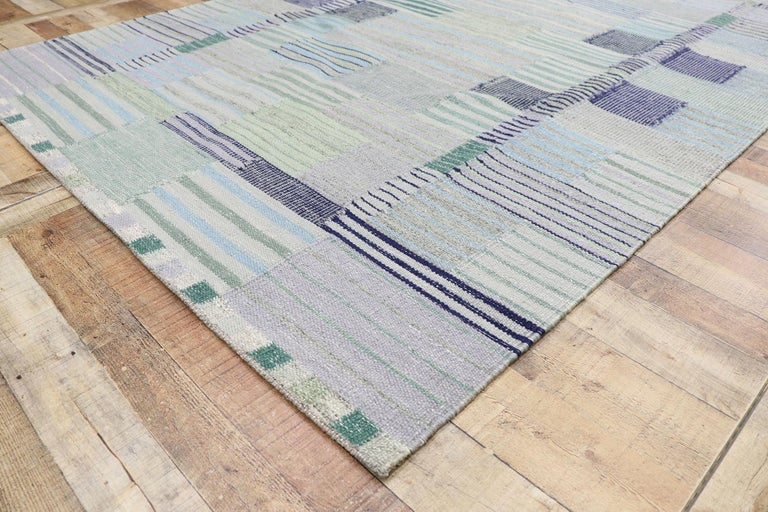 Wool New Contemporary Indo-Swedish Kilim Rug with Bohemian Scandinavian Modern Style For Sale