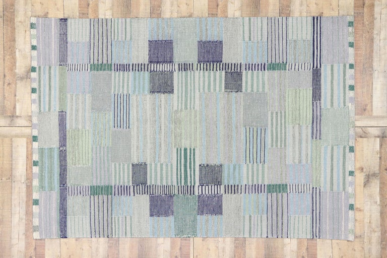 New Contemporary Indo-Swedish Kilim Rug with Bohemian Scandinavian Modern Style For Sale 2