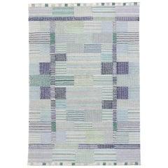 New Contemporary Indo-Swedish Kilim Rug with Bohemian Scandinavian Modern Style