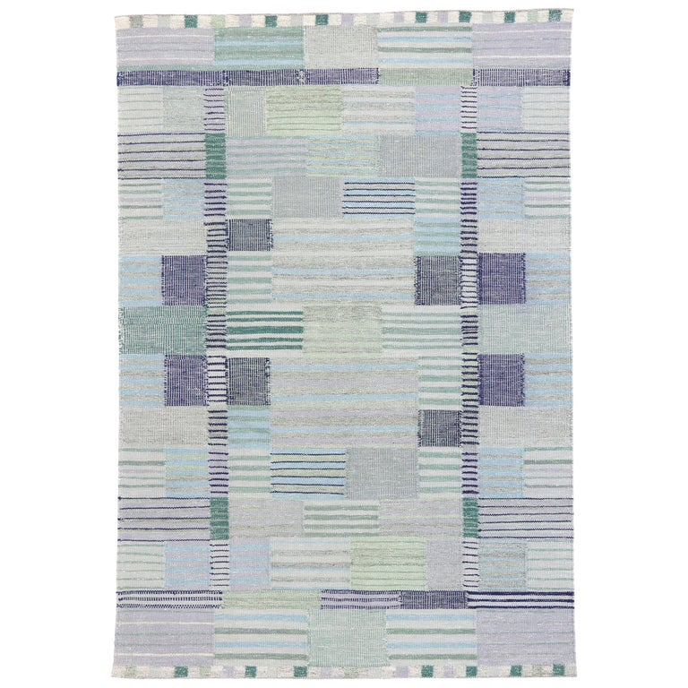 New Contemporary Indo-Swedish Kilim Rug with Bohemian Scandinavian Modern Style For Sale