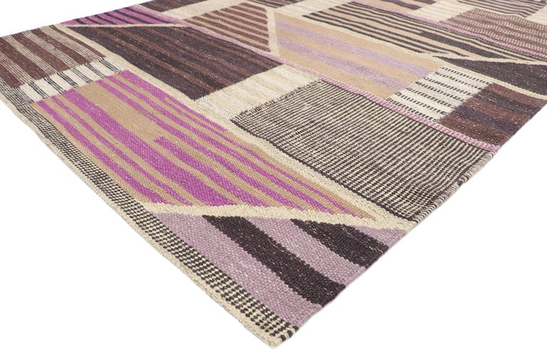 30641, new contemporary Indo-Swedish Kilim rug with Scandinavian modern abstract style 06'04 x 08'10. Showcasing a bold expressive design, incredible detail and texture, this hand woven wool contemporary Indo-Swedish kilim rug is a captivating