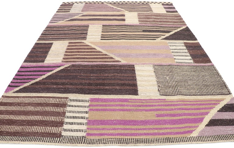 Indian New Contemporary Indo-Swedish Kilim Rug with Scandinavian Modern Abstract Style For Sale