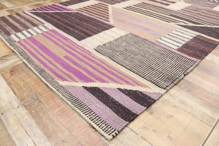 Wool New Contemporary Indo-Swedish Kilim Rug with Scandinavian Modern Abstract Style For Sale