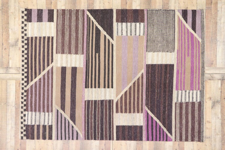 New Contemporary Indo-Swedish Kilim Rug with Scandinavian Modern Abstract Style For Sale 2