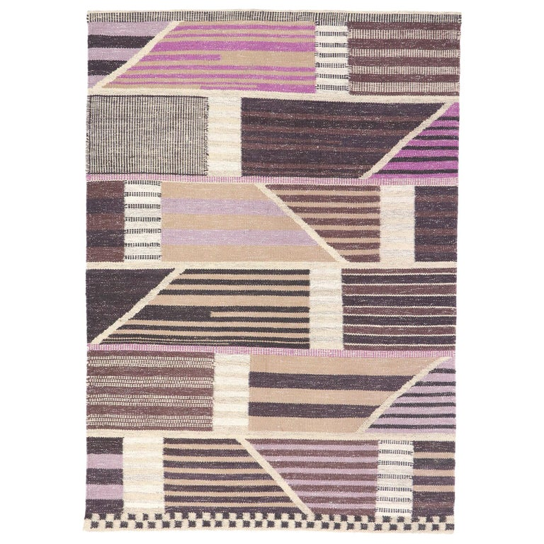 New Contemporary Indo-Swedish Kilim Rug with Scandinavian Modern Abstract Style For Sale