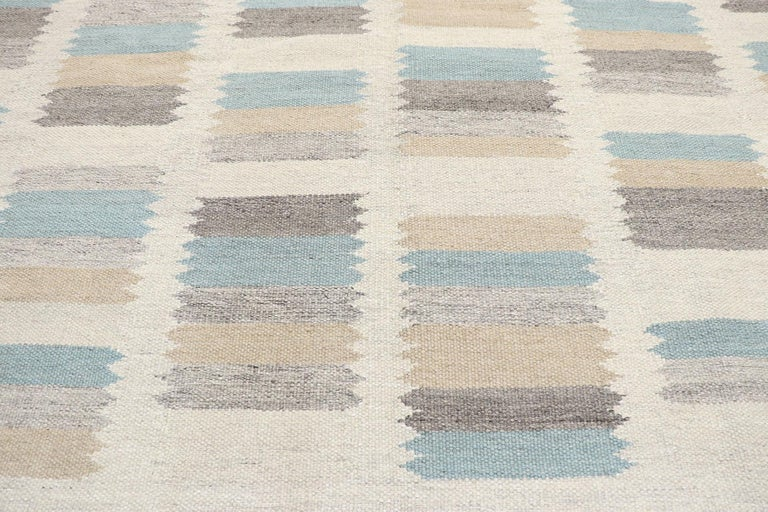 Hand-Woven New Contemporary Indo-Swedish Kilim Rug with Scandinavian Modern Style For Sale