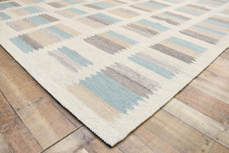 Wool New Contemporary Indo-Swedish Kilim Rug with Scandinavian Modern Style For Sale