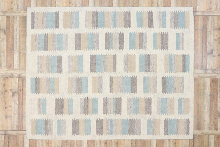 New Contemporary Indo-Swedish Kilim Rug with Scandinavian Modern Style For Sale 2