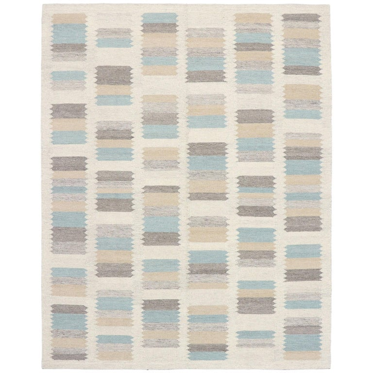 New Contemporary Indo-Swedish Kilim Rug with Scandinavian Modern Style For Sale