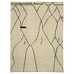 New Contemporary Moroccan Area Rug with Line Art Design and Tribal Style